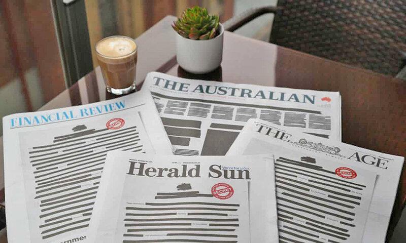 اعتراض به تحدید آزادی بیان ، صفحه اول روزنامه های استرالیا سیاه شد